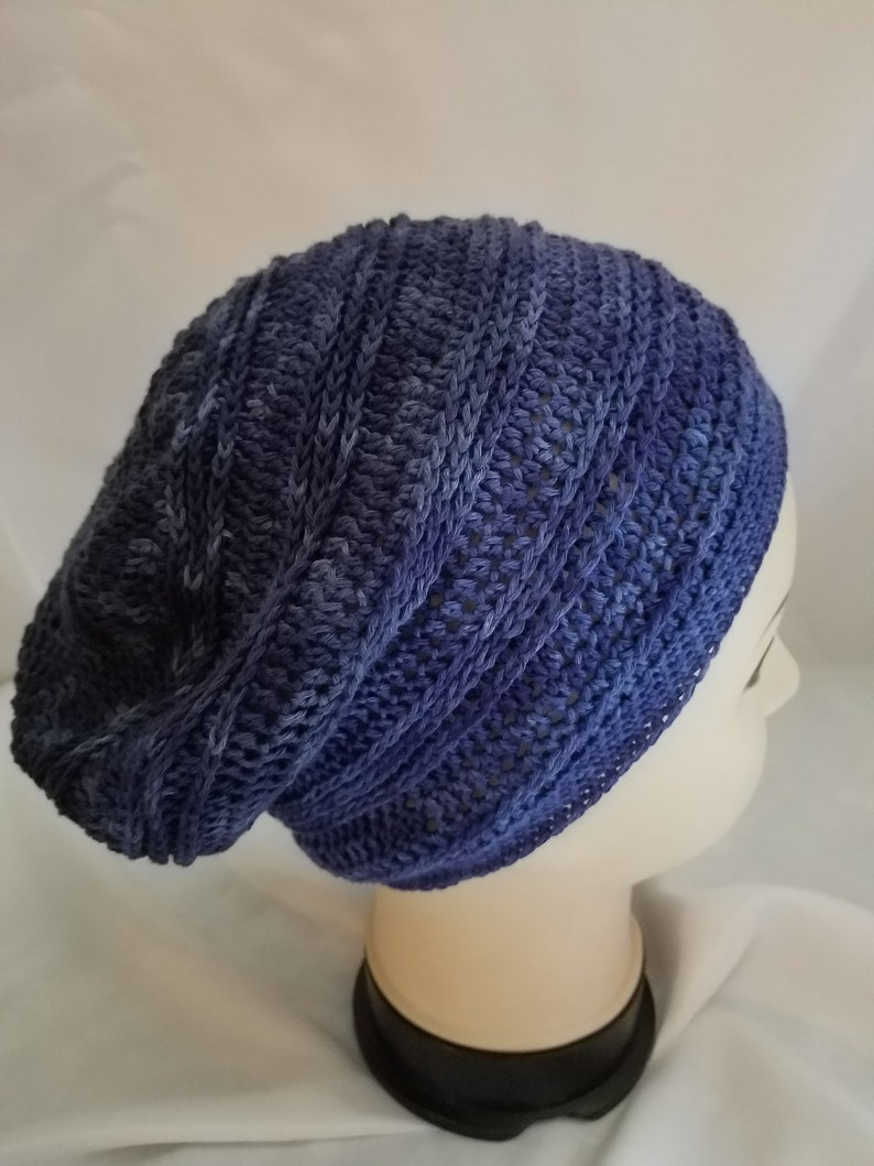 ladies crochet slouchy beanie shades of soft navy colors image 0