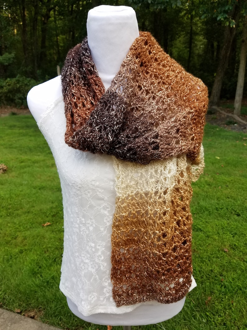 open weave long scarf shawl of bronze brown gold cream image 0