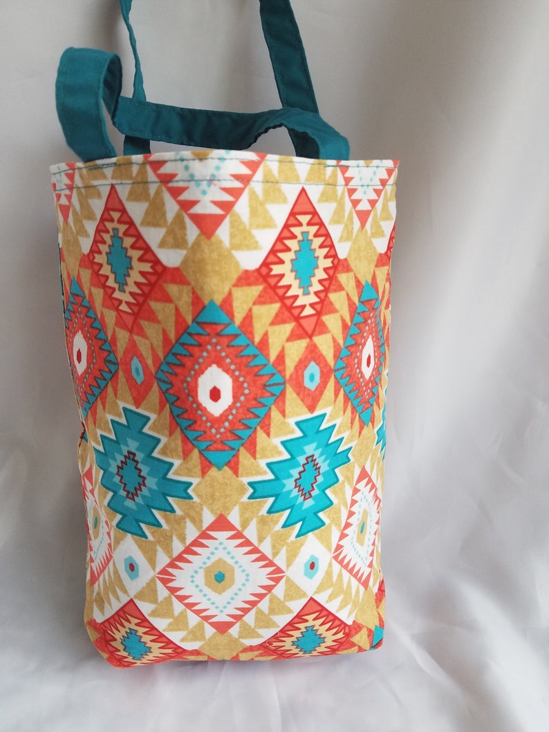 Aztec fabric tote bag south western design gift bag orange image 0