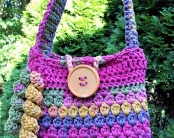 crochet shoulder handbag, Easter purse for girls, little girl's summer bag, birthday present from Mom and Dad, bright colors of pink yellow