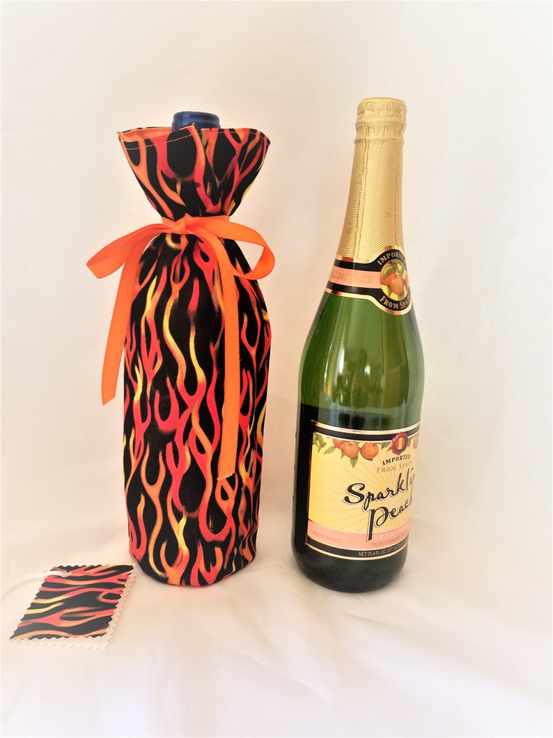 Red hot flames wine gift bag water bottle carrier image 0