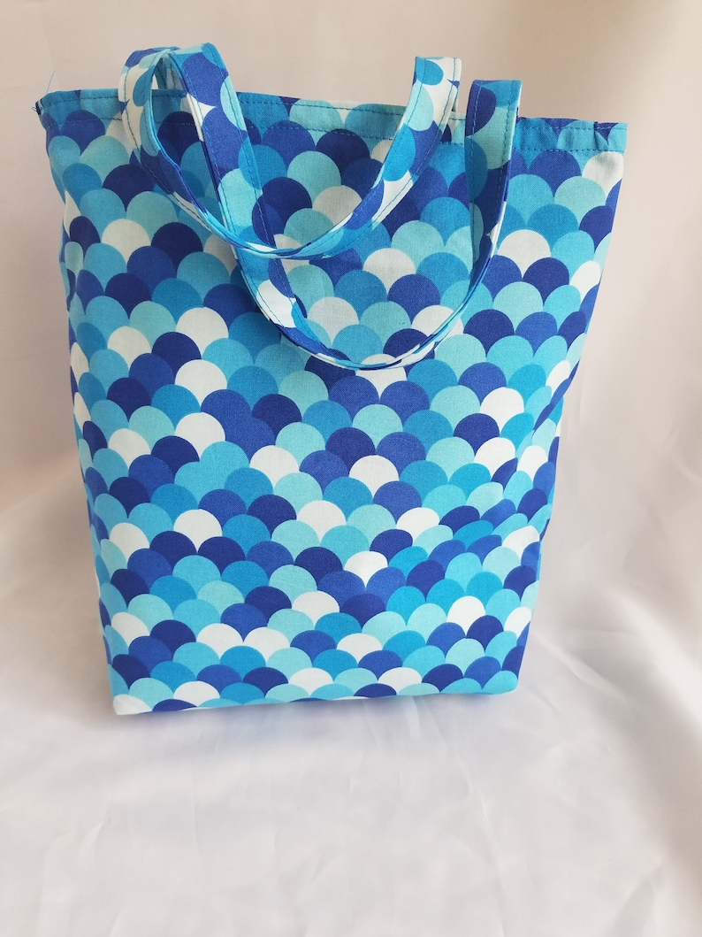 Ocean blue tote bag reusable gift bag medium size book bag image 0