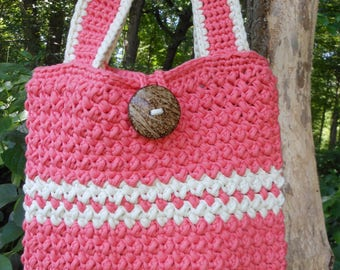 over the shoulder bag with button closure, coral and cream crochet ladies handbag, summer beach tote, lightweight with inside pocket,
