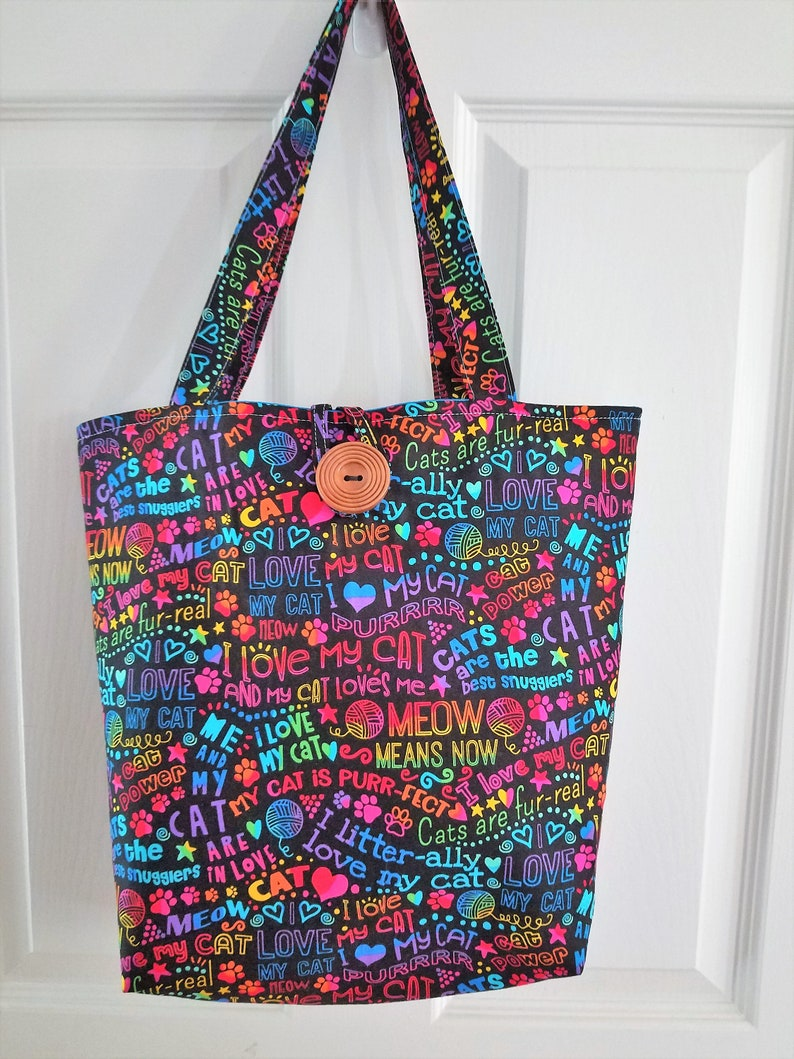 over the shoulder handbag with cat sayings medium size image 0