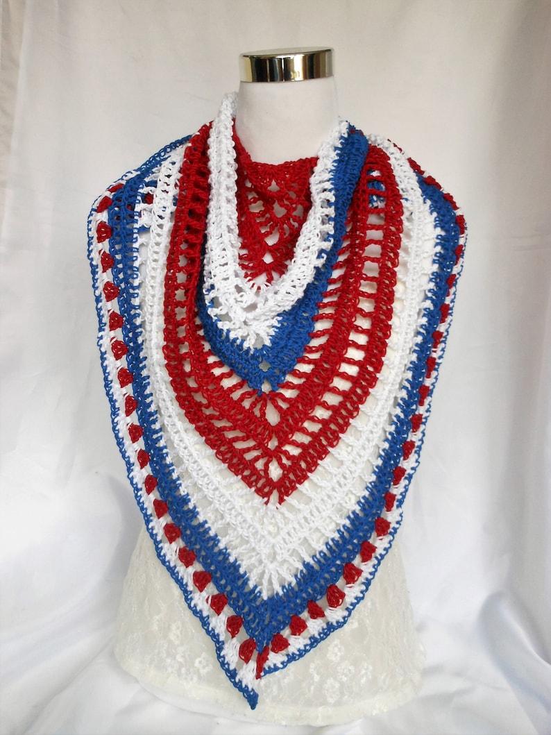 crochet cotton triangle shawl patriotic red white blue image 0