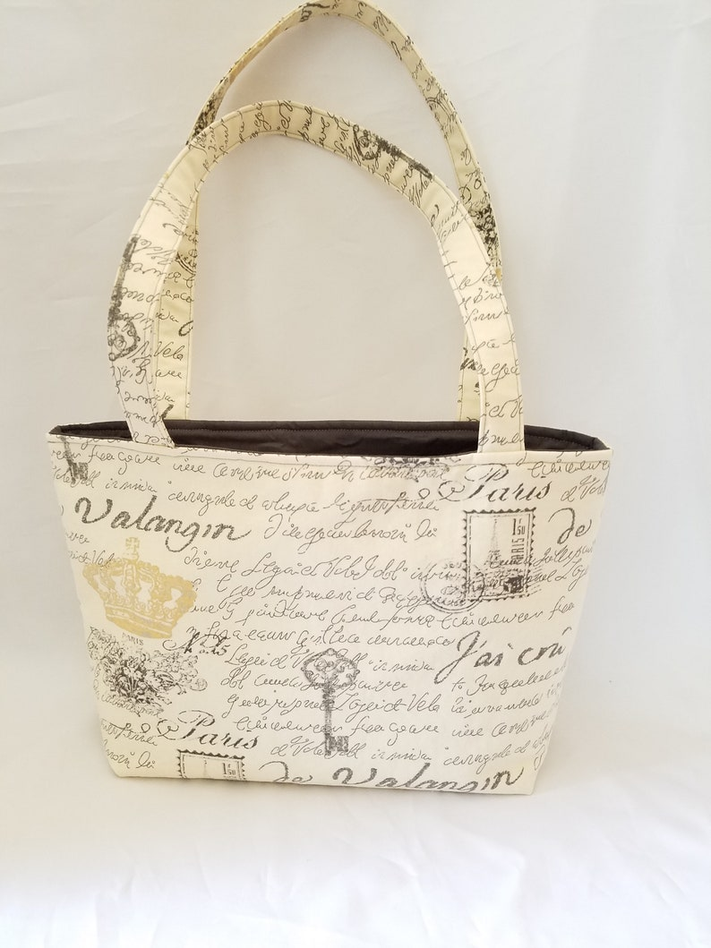 tote bag with Paris theme over the shoulder handbag with image 0