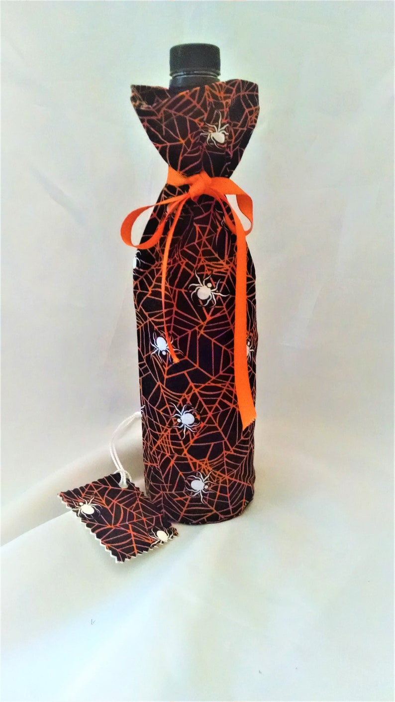 Halloween wine bottle cover spider web design hostess gift image 0