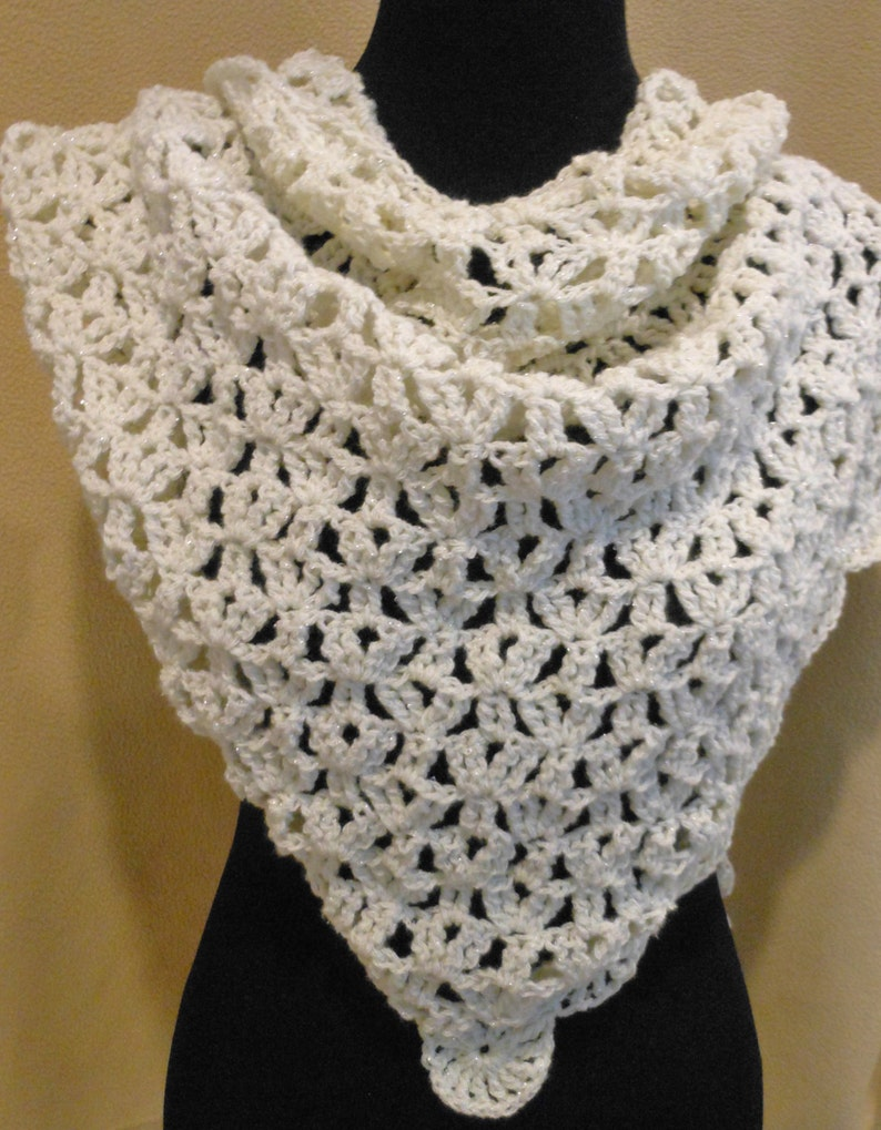 crochet white triangle shoulder wrap with shimmer thread image 0