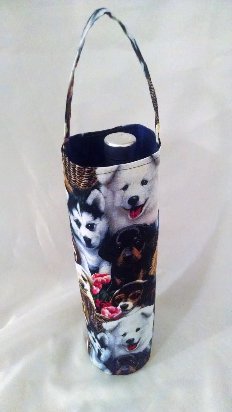 wine tote with dogs wine bag for people who like dogs gift image 0
