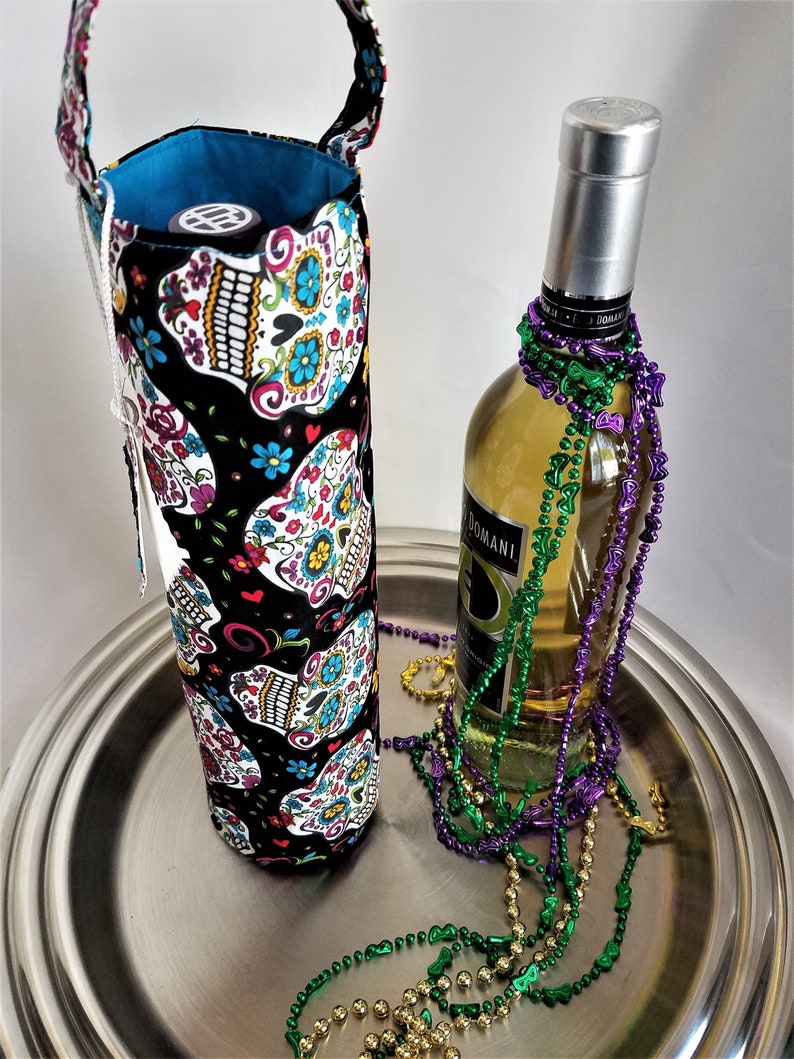 Sugar Skull wine tote bag Day of the Dead single bottle image 0