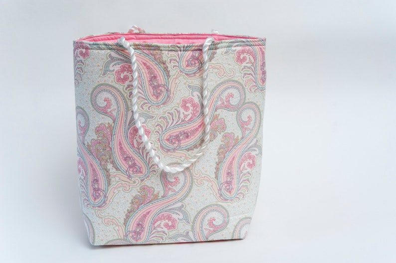 paisley print large size gift bag with pink lining carry bag image 0