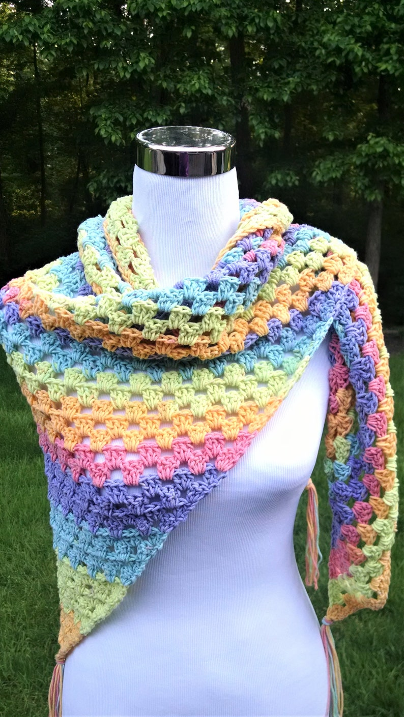 crochet summer cotton shawl lightweight shoulder wrap open image 0