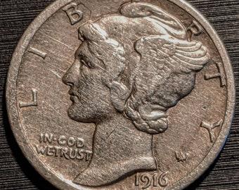 Coin 1.00 Shipping Vintage 1935 Nice Grade Silver Mercury Dime Ten Cent Piece Antique Authentic U.S