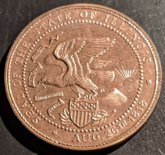 Vintage 1818-1968 Illinois Sesquicentennial 150 years of progress medal token Springfield Antique Vintage Authentic Coin 1.00 Shipping