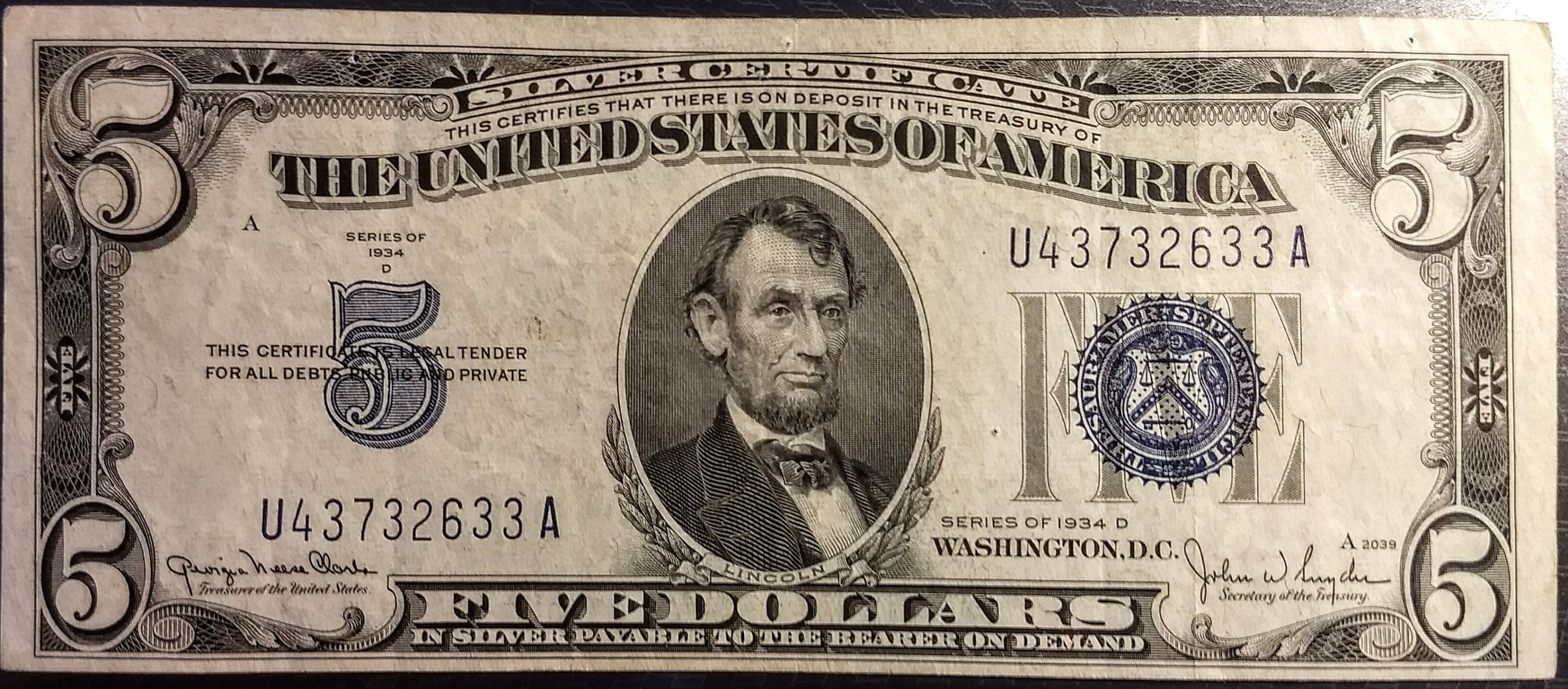 1934 D Solid Grade Circulated Vintage Silver Certificate Five Etsy