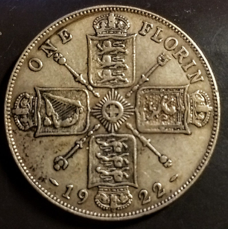 1922 One Florin Solid Grade Great Britain Coat of Arms Silver King George World Coin Antique Vintage Authentic Great 1.00 Shipping