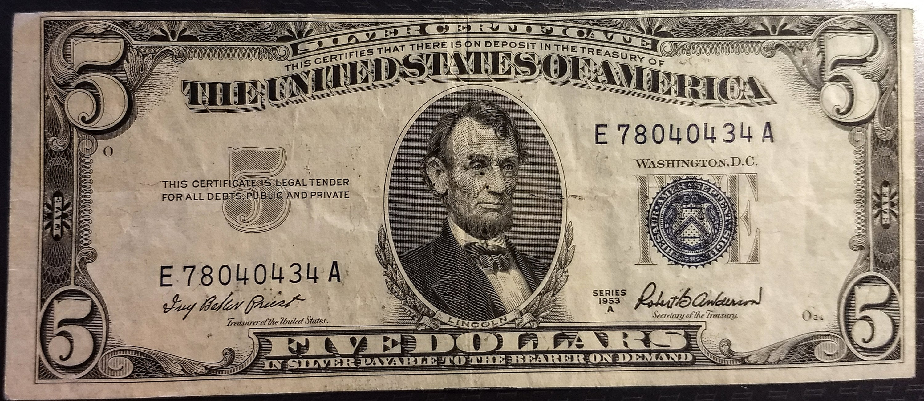 1953 A Solid Grade Circulated Vintage Silver Certificate Five Etsy