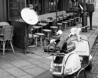 Paris black and white photography, Vespa, Paris street, French Vespa, Paris cafe, Paris photography, black and white photo, Paris decor