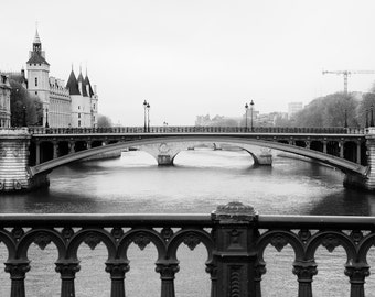 Paris black and white photography, Paris Seine, bridges, Paris photography, black and white photo, Conciergerie, architecture