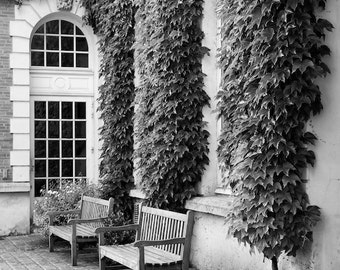 Paris black and white photography, Paris photography, black and white photo, Paris courtyard, Paris benches, French wall art, fine art print