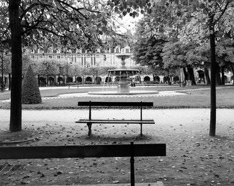 Paris black and white photography, Places des Vosges, Paris photography, black and white photo, Paris park, Paris decor, fine art print
