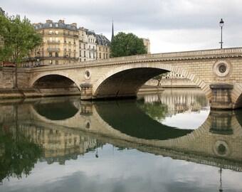 Paris photography, Paris in color, bridge, Seine reflections, Paris architecture, Paris decor, home decor, fine art print