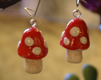 Magical Toadstool Polymer Clay Earrings