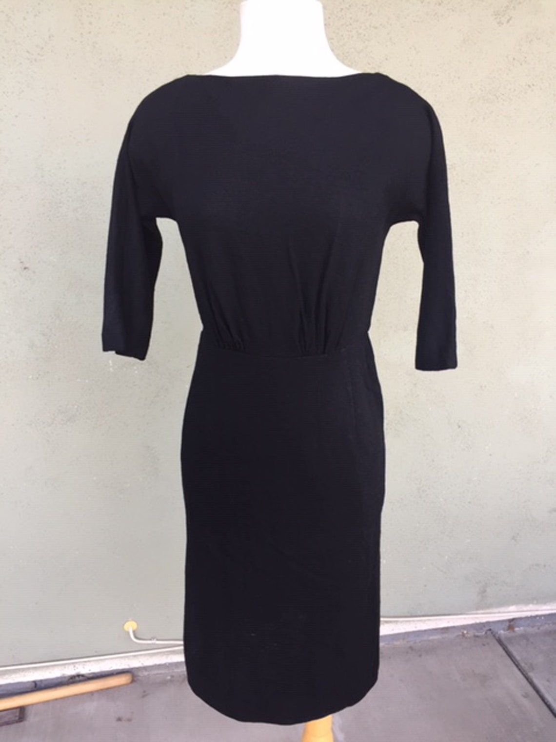 1950s Black Wiggle Dress with 3/4 Sleeves