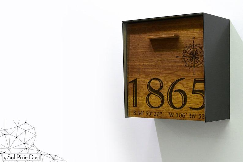 Solid Iroko Wood Face Metallic Black Aluminum Body Modern Mailbox Compass Custom Laser Engraved Mailbox,Wall Mounted,Mailnest Style 1