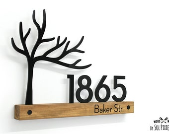 Modern House Numbers - Tree 02 Wooden & Acrylic signs - African Teak Iroko - Contemporary Home Address - Door Number - Modern House Plaque