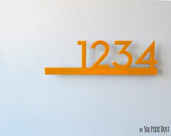 Modern House Numbers - Yellow with Black Acrylic - Contemporary Home Address - Sign Plaque - Door Number