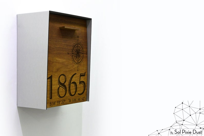 Modern Mailbox Brushed Silver Aluminum Body Wall Mounted Solid Iroko Wood Face Mailnest Style 2 Compass Custom Laser Engraved