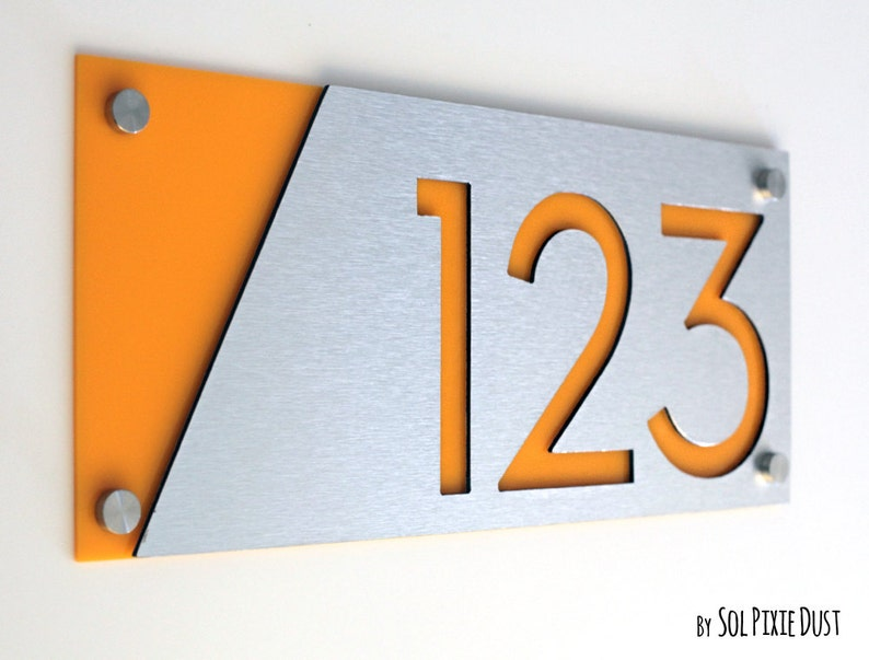 Alucobond with Yellow Acrylic Contemporary Home Address -Sign Plaque Modern House Numbers Door Number