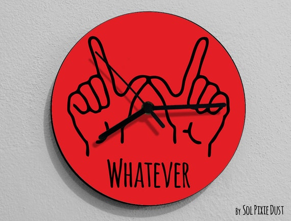 Whatever Hand Symbol Round Red Wall Clock
