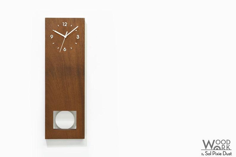 Wall Clock  Table Clock main photo Bluntly Modern Design Solid Iroko Wood Customize White Pendulum Grandfather Pendulum Style 2