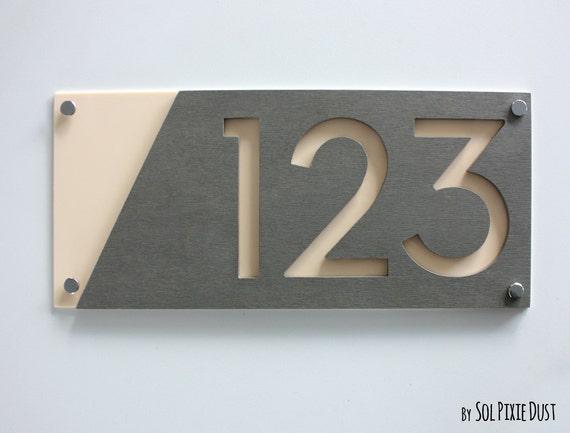 Moderne Hausnummern Beton Mit Beige Acryl Zeitgenössische Etsy