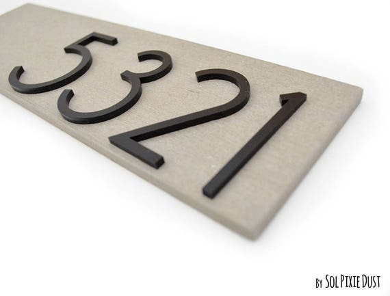 Modern Apartment door Numbers plague, Concrete with black Acrylic -  Contemporary Home Number Sign