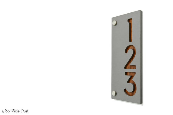 Contemporary Home Address Sign Plaque Rectangle Concrete with Neon Yellow Acrylic Door Number Small Modern House Numbers