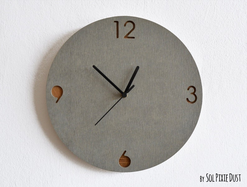 Concrete and Wood Circle Wall Clock   Modern Wall Clock image 0