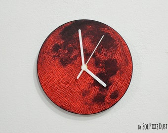 Red Dot Full Moon -  Wall Clock