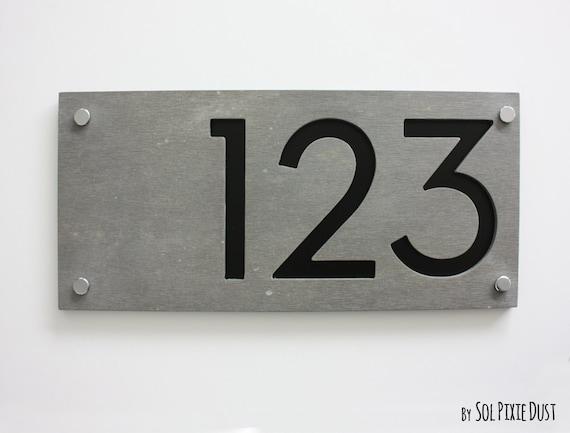 Moderne Hausnummern Rechteck Beton Mit Schwarzem Acryl Etsy
