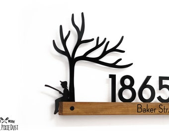 Modern House Numbers - Tree Wooden & Acrylic signs - African Teak Iroko - Contemporary Home Address - Door Number - Modern House Plaque