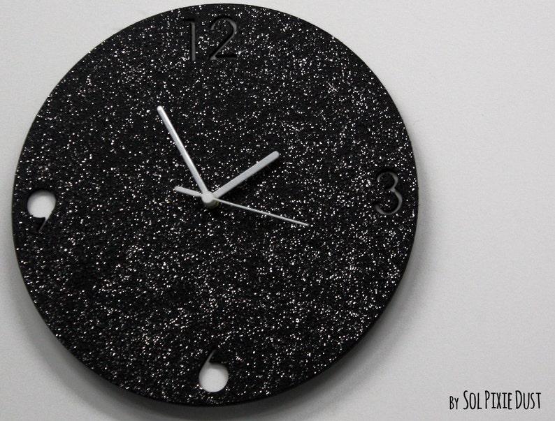 Shimmer nero granito silver glitter calcestruzzo orologio da etsy