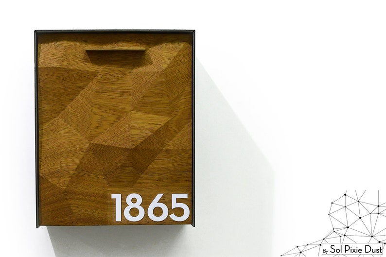 Mailnest Style 2 White Number Wall Mounted Solid Iroko 3D Wood Face Custom Laser Engraved Modern Mailbox Metallic Black Aluminum Body