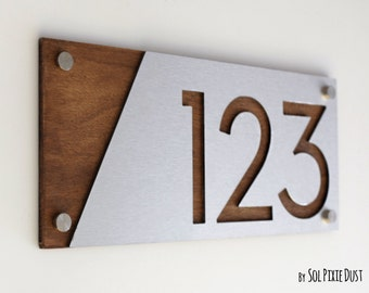 Modern House Numbers, Alucobond with Wood  - Contemporary Home Address -Sign Plaque - Door Number
