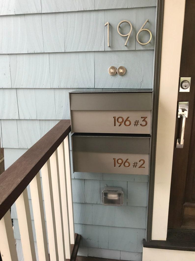 Modern Mailbox with Concrete Face, Aluminum Body and Dark Oak Wood Vanish,  Custom Modern Mailbox, Wall Mounted Mailbox, Mailnest Type 3