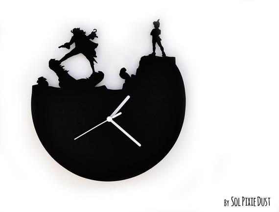 Peter Pan Und Captain Hook Silhouette Wanduhr Etsy