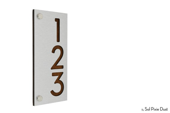 One Number Round Alucobond with Dark Oak Wood Plaque Details about  /Modern House Numbers
