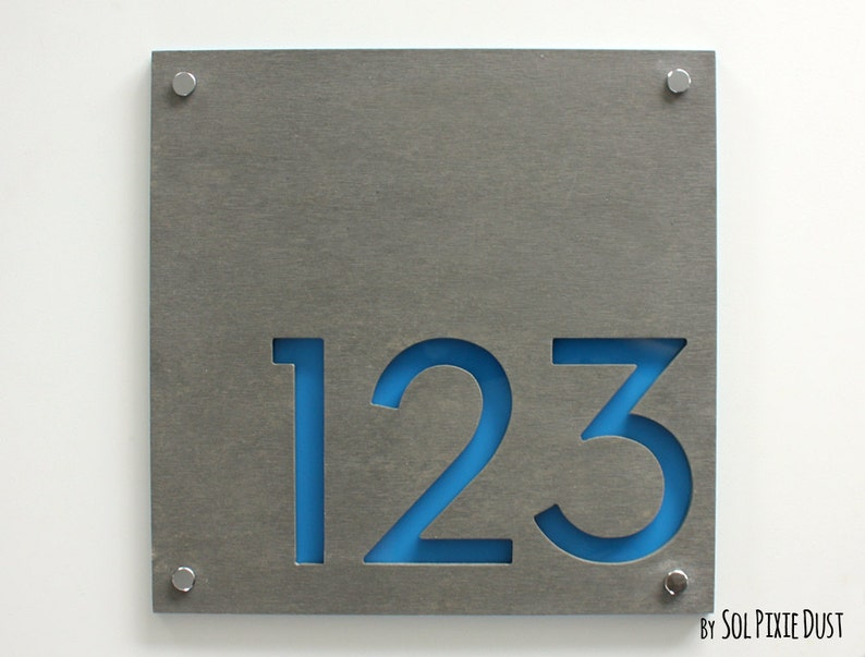 Numéros De Maison Moderne Carré De Béton Avec De Lacrylique | Etsy