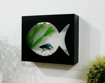 Modern Betta Fish Tank Aquarium - Desktop aquarium or Wall Mounted Fish Aquarium